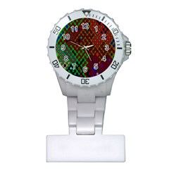 Psychedelic Abstract Swirl Plastic Nurses Watch