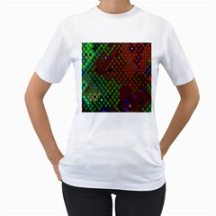 Psychedelic Abstract Swirl Women s T Shirt (white)