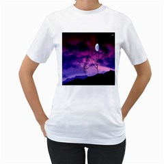 Purple Sky Women s T-Shirt (White) (Two Sided)