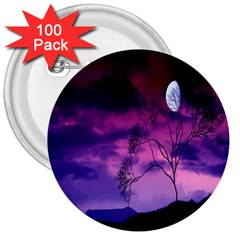 Purple Sky 3  Buttons (100 Pack)