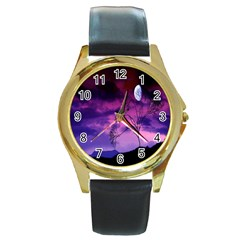 Purple Sky Round Gold Metal Watch