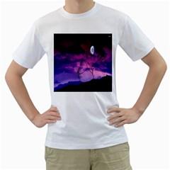 Purple Sky Men s T Shirt (white)