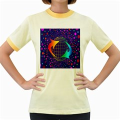 Recycling Arrows Circuit Women s Fitted Ringer T-Shirts