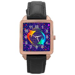 Recycling Arrows Circuit Rose Gold Leather Watch