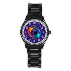 Recycling Arrows Circuit Stainless Steel Round Watch