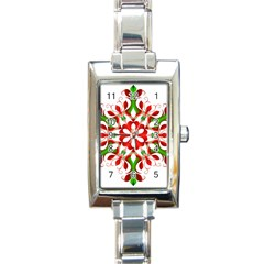 Red And Green Snowflake Rectangle Italian Charm Watch
