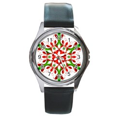 Red And Green Snowflake Round Metal Watch