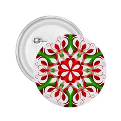 Red And Green Snowflake 2.25  Buttons