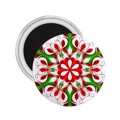 Red And Green Snowflake 2.25  Magnets