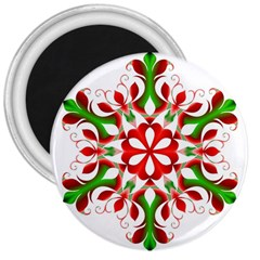 Red And Green Snowflake 3  Magnets