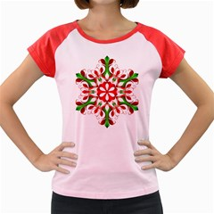 Red And Green Snowflake Women s Cap Sleeve T-Shirt