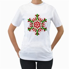 Red And Green Snowflake Women s T-Shirt (White) (Two Sided)