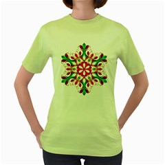 Red And Green Snowflake Women s Green T Shirt