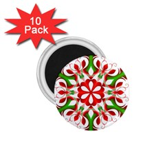 Red And Green Snowflake 1.75  Magnets (10 pack)