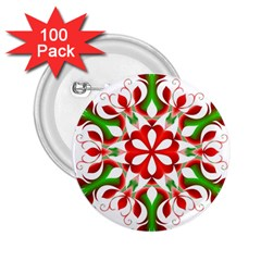 Red And Green Snowflake 2 25  Buttons (100 Pack)