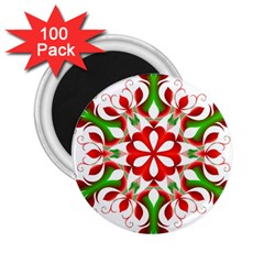 Red And Green Snowflake 2 25  Magnets (100 Pack)