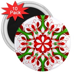 Red And Green Snowflake 3  Magnets (10 pack)