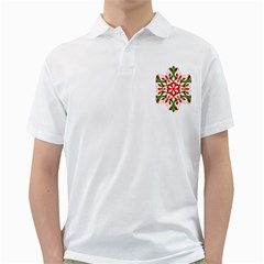 Red And Green Snowflake Golf Shirts
