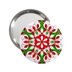 Red And Green Snowflake 2.25  Handbag Mirrors
