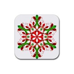 Red And Green Snowflake Rubber Square Coaster (4 pack)