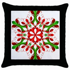 Red And Green Snowflake Throw Pillow Case (Black)