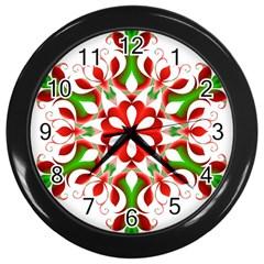 Red And Green Snowflake Wall Clocks (black)