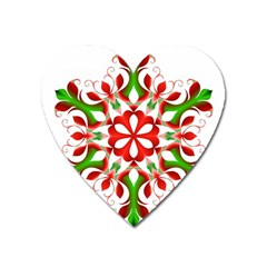 Red And Green Snowflake Heart Magnet