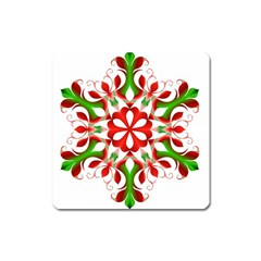 Red And Green Snowflake Square Magnet