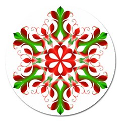 Red And Green Snowflake Magnet 5  (round)