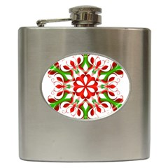 Red And Green Snowflake Hip Flask (6 Oz)