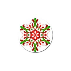 Red And Green Snowflake Golf Ball Marker