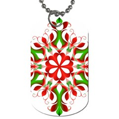 Red And Green Snowflake Dog Tag (two Sides)
