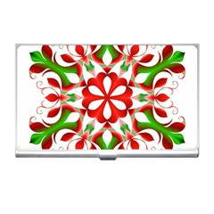 Red And Green Snowflake Business Card Holders