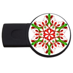 Red And Green Snowflake USB Flash Drive Round (2 GB)