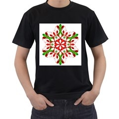 Red And Green Snowflake Men s T-Shirt (Black) (Two Sided)