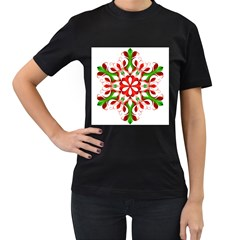 Red And Green Snowflake Women s T-Shirt (Black) (Two Sided)
