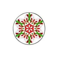 Red And Green Snowflake Hat Clip Ball Marker (10 pack)