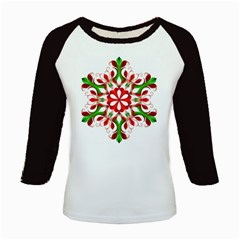 Red And Green Snowflake Kids Baseball Jerseys