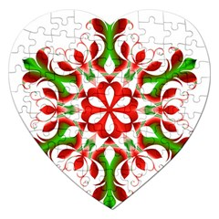 Red And Green Snowflake Jigsaw Puzzle (Heart)