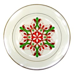 Red And Green Snowflake Porcelain Plates