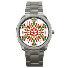 Red And Green Snowflake Sport Metal Watch