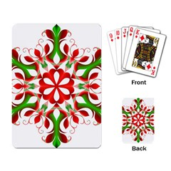 Red And Green Snowflake Playing Card