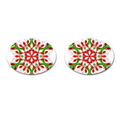 Red And Green Snowflake Cufflinks (Oval)