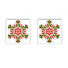 Red And Green Snowflake Cufflinks (Square)