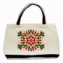 Red And Green Snowflake Basic Tote Bag