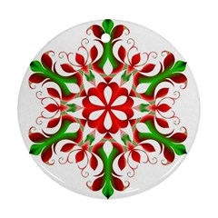 Red And Green Snowflake Round Ornament (Two Sides)