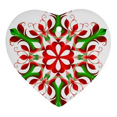 Red And Green Snowflake Heart Ornament (two Sides)