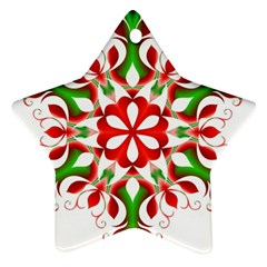 Red And Green Snowflake Star Ornament (Two Sides)