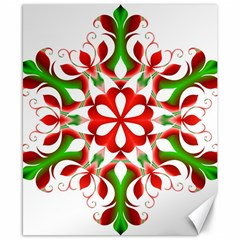 Red And Green Snowflake Canvas 8  x 10