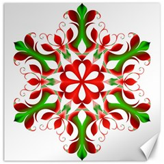 Red And Green Snowflake Canvas 20  x 20
